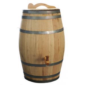 Kastanje regenton met kraan en handvat 100 liter