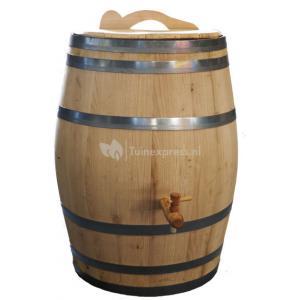 Kastanje regenton met kraan en handvat 150 liter