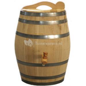 Kastanje regenton met kraan en handvat 50 liter