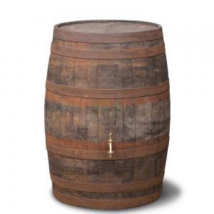 Hergebruikte houten regenton geborsteld 195 liter