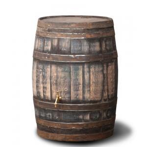 Hergebruikte houten regenton robuust 195 liter